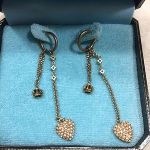 """Juicy Couture Jewelry - Vtg Juicy Couture Heart/Crown 3"""" Dangle Earrings"""